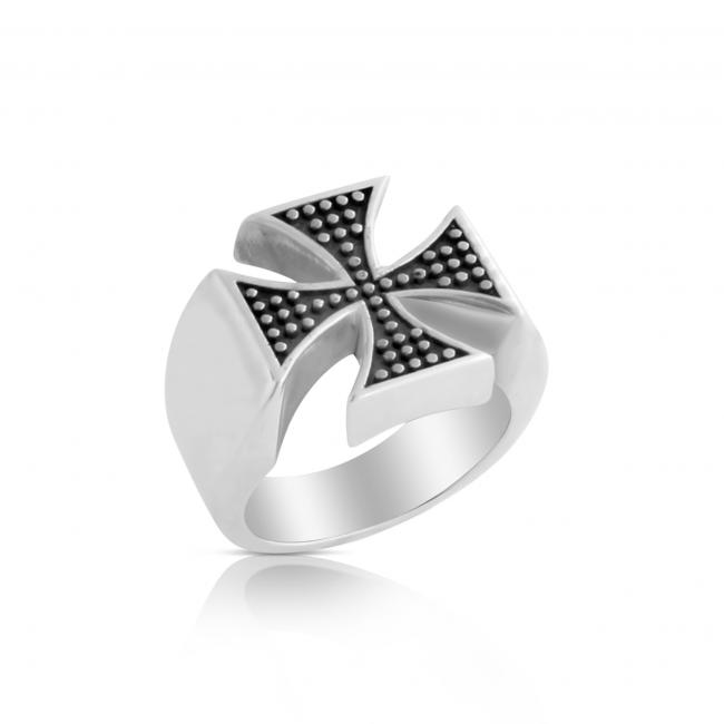 925 sterling silver ring Two-Toned st. George's Cross