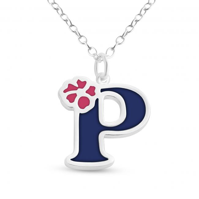 925 sterling silver necklace Colored Initial Letter P with Flower