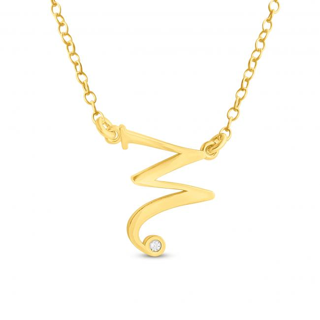 Gold plated necklace Initial Script Letter W with CZ Sideways
