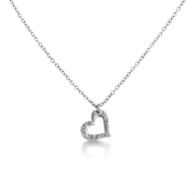 925 sterling silver necklace Textured Heart Cut Out Double Sided Love