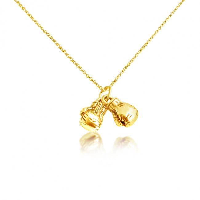 Gold plated necklace Boxing Gloves