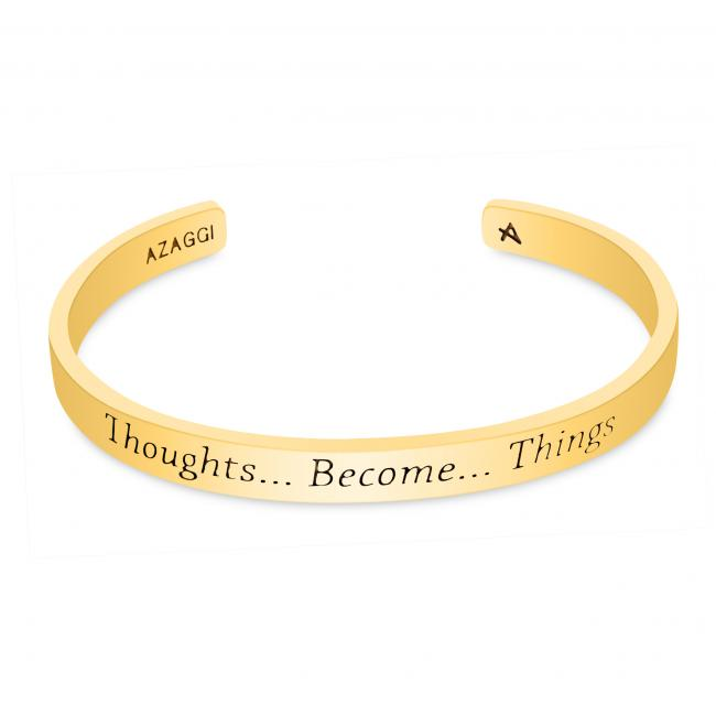 Gold plated bracelet Brass/ Rhodium Thoughts Become Things Inspirational Cuff Bracelet