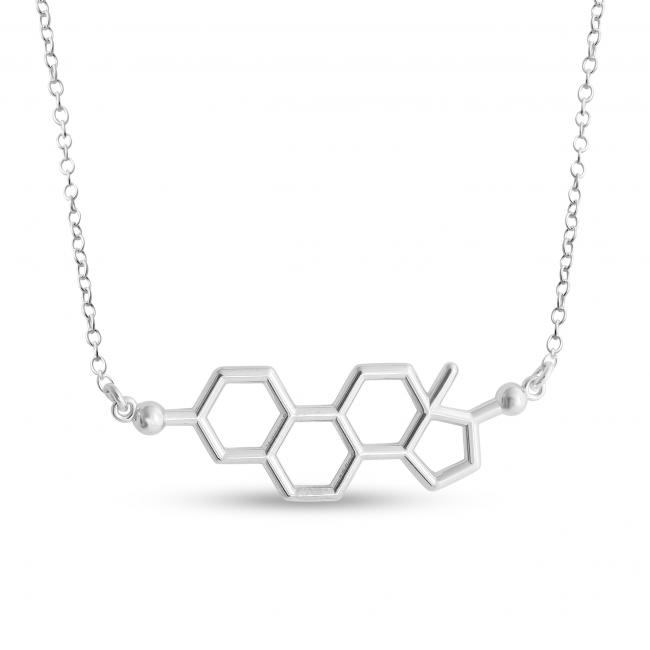 925 sterling silver necklace Estrogen Molecule Female Sex Hormone Chemical Structure