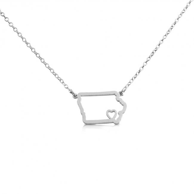 925 sterling silver necklace Iowa Home is Where The Heart Is State Necklace
