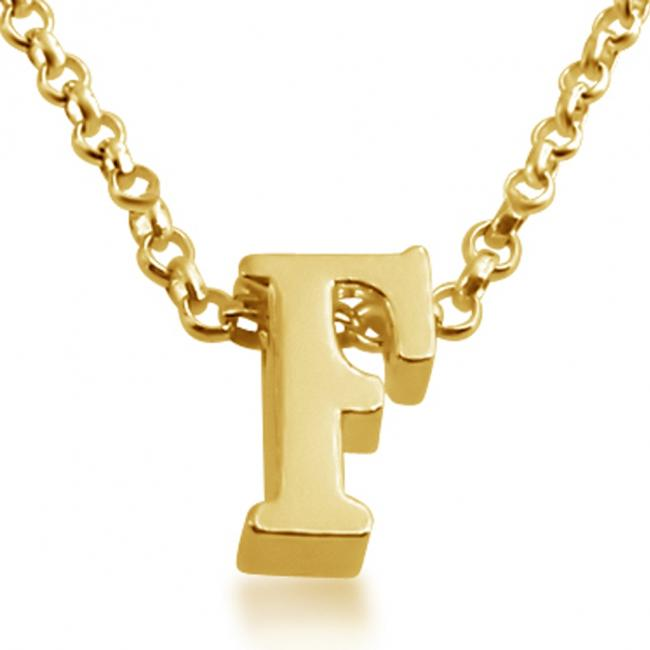 Gold plated necklace Initial Letter F Personalized Symbols & Letters Serif Font