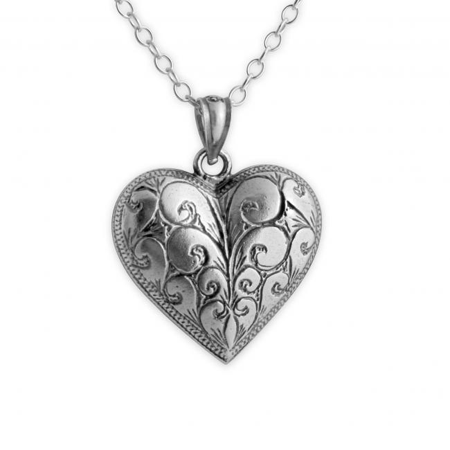 925 sterling silver necklace Vintage Etched Heart Romantic Love