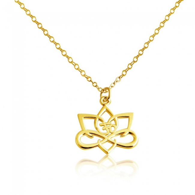 Gold plated necklace Big Lotus Flower