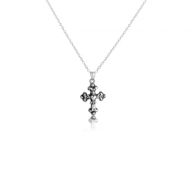 925 sterling silver necklace Apostles Cross w/ Heart