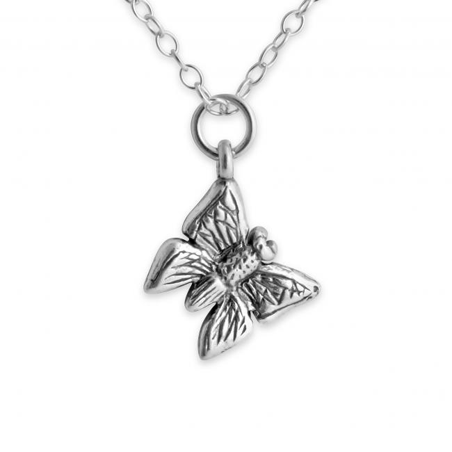 925 sterling silver necklace Tiny Butterfly Double Sided Bug Insect
