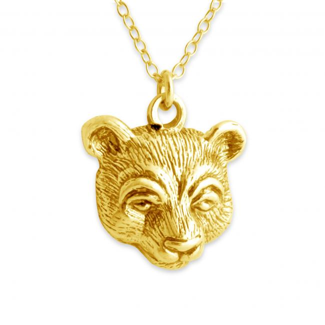 Gold plated necklace Bear Head Wild Animal Hunter's Trophy