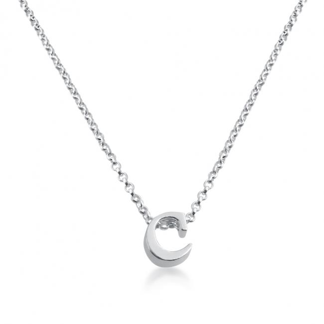 925 sterling silver necklace Initial Letter C Personalized Symbols & Letters Serif Font