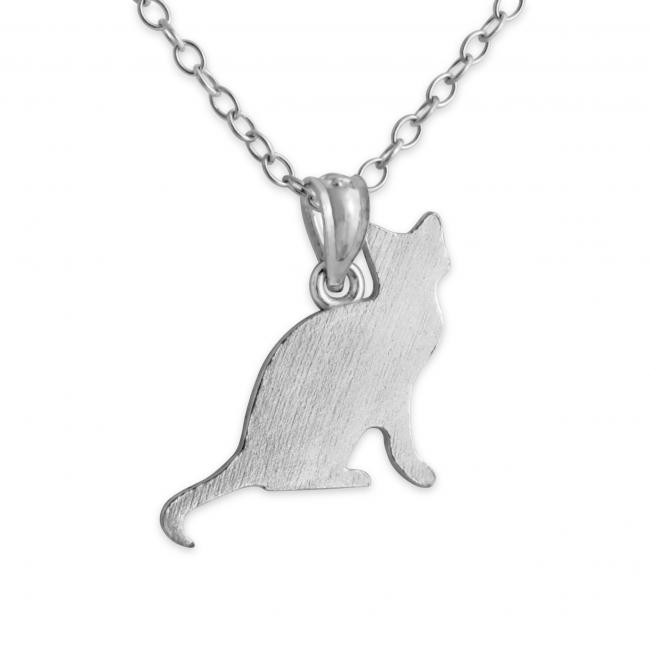 925 sterling silver necklace Sitting Cat (Silhouette)