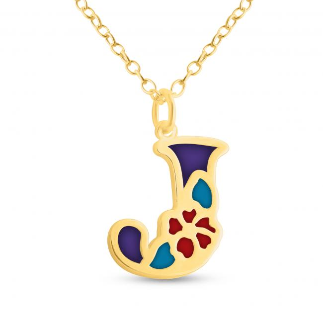 Gold plated necklace Colored Initial Letter J with Flower