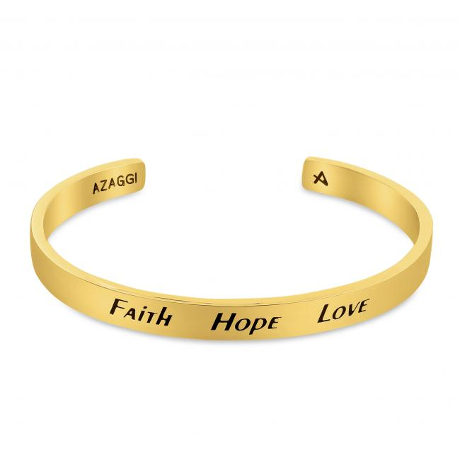 Gold plated bracelet Brass/ Rhodium Faith Hope Love Inspirational Cuff Bracelet