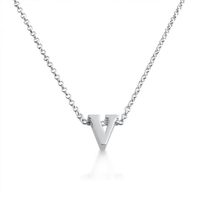 925 sterling silver necklace Initial Letter V Personalized Symbols & Letters Serif Font