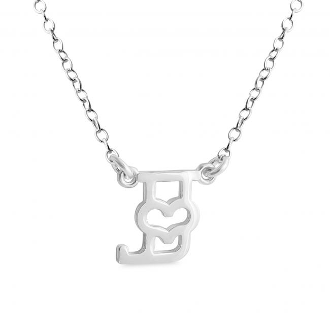 925 sterling silver necklace Initial Letter J with Heart Sideways
