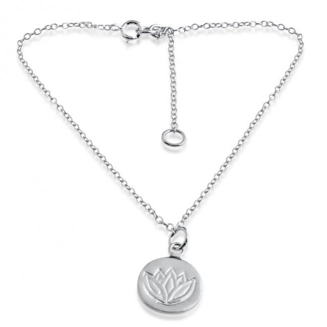 925 sterling silver anklet Lotus Medallion