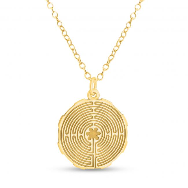 Gold plated necklace Mandala Labyrinth Coin Sacred Path Spiritual Jorney