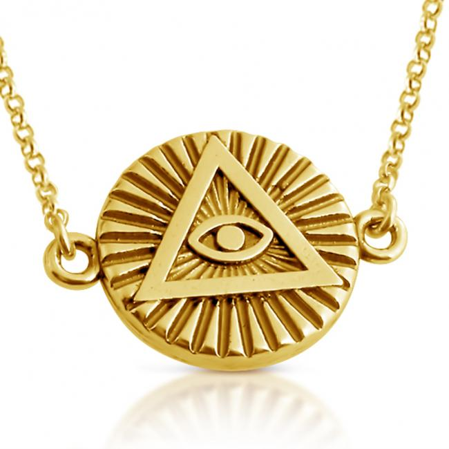 Gold plated necklace Illuminati Circle Sideways