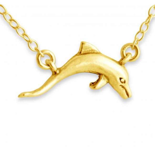 Gold plated necklace 3D Dolphin