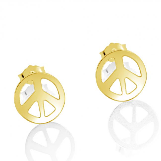 Gold plated earrings Peace Sign
