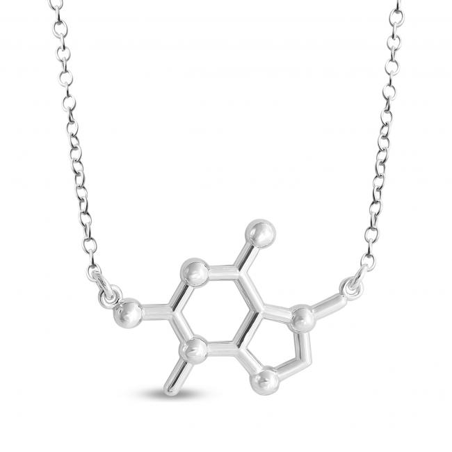 925 Sterling Silver Necklace Theobromine Chocolate Molecule Chemical