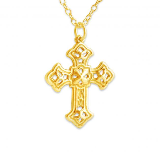 Gold plated necklace Budded Apostles Cross Religious