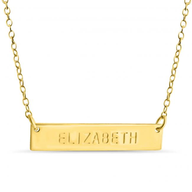 Gold plated necklace Name Bar Elizabeth