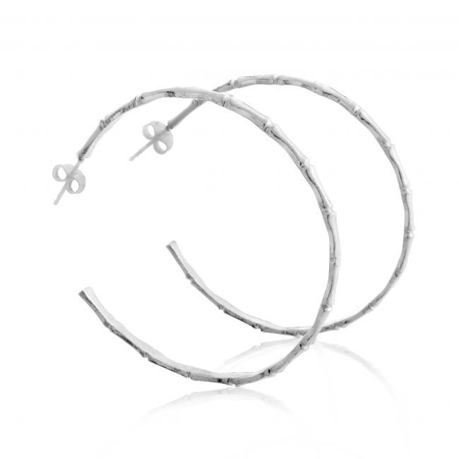 925 sterling silver earrings Bamboo Hoops Medium