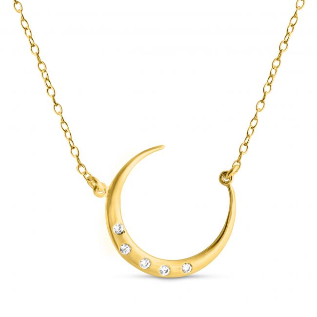 Gold plated necklace Round Crescent Moon w/ CZs Sideways