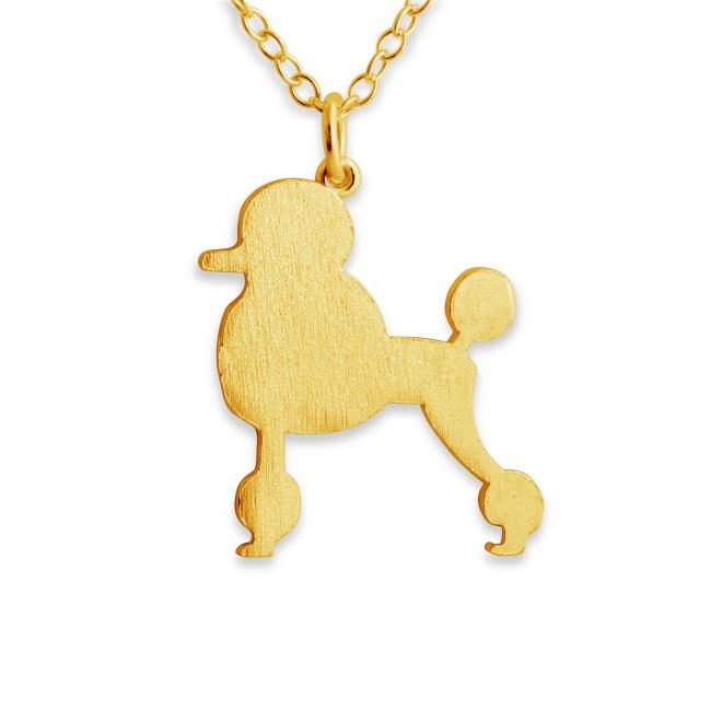 Gold plated necklace Poodle (Silhouette)
