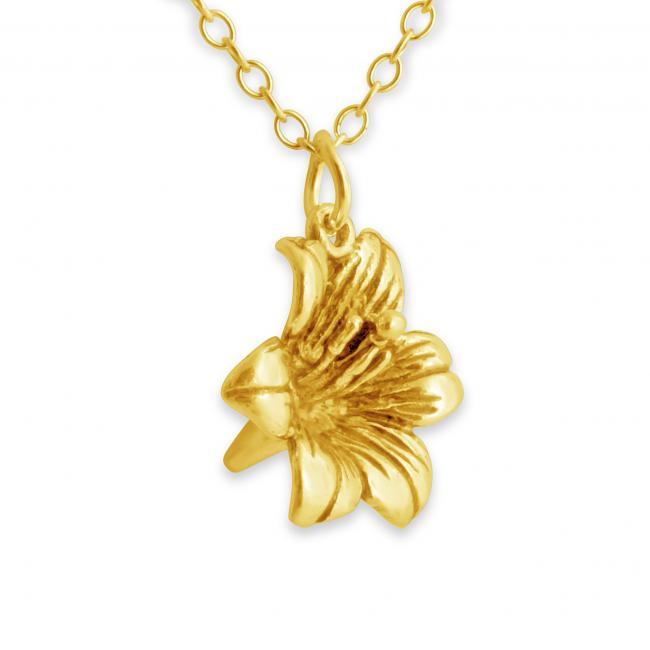 Gold plated necklace 3D Lily Flower Floral