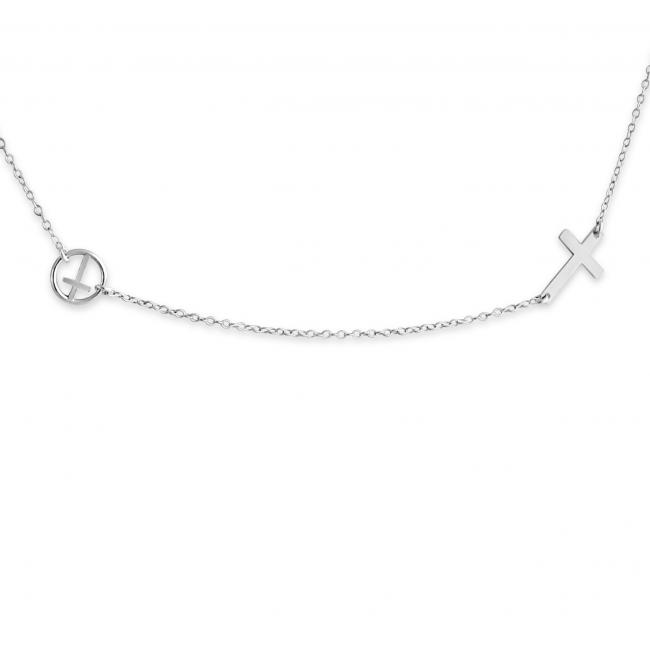 925 sterling silver necklace Cross w/ Cross in Circle
