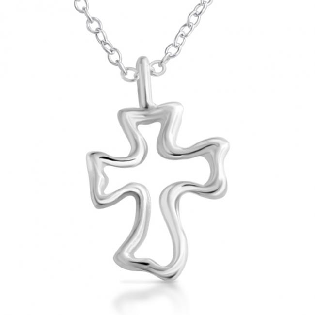 925 sterling silver necklace Open Cross