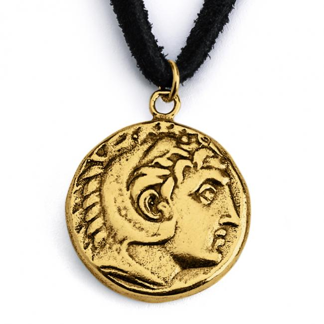 Gold plated necklace Replica King Alexander the Great Ancient COIN