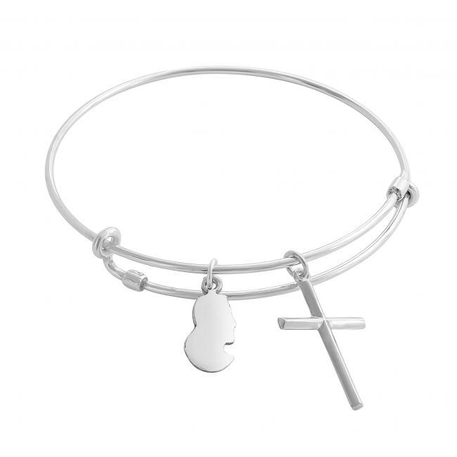 925 sterling silver bracelet Jesus Christ Adjustable Wire Bangle