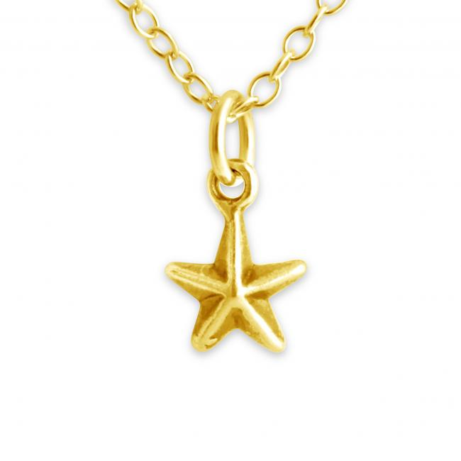Gold plated necklace Tiny 5 Pointed 3D Star
