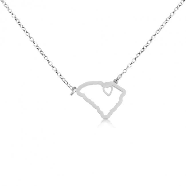 925 sterling silver necklace South Carolina Home is Where The Heart Is State Necklace