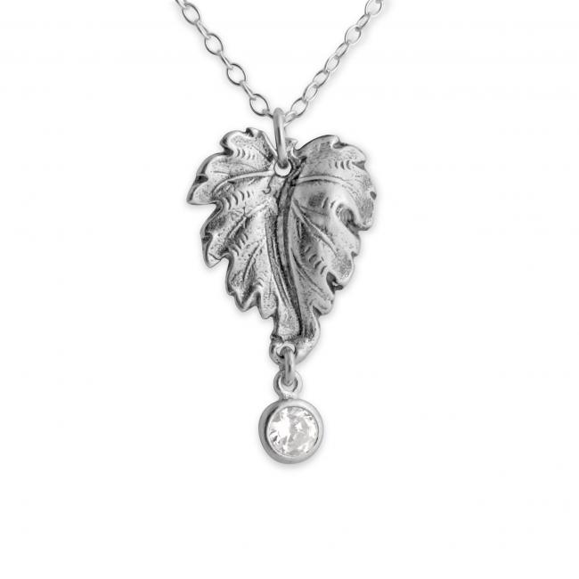 925 sterling silver necklace Grape Leaf with Dangle CZ