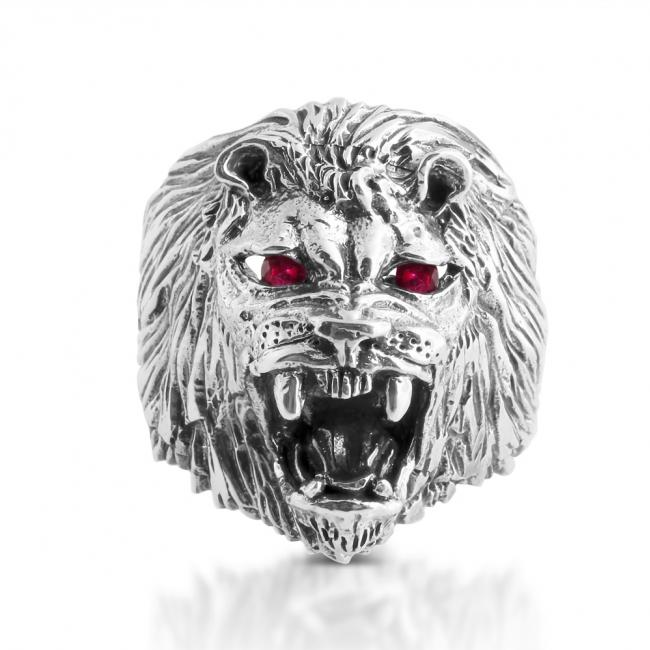925 sterling silver ring Roaring Lion w/ 2 Synthetic Rubies