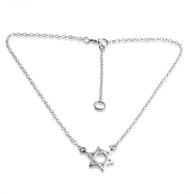 925 sterling silver anklet Jewish Star of David Charm