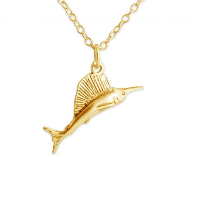 Gold plated necklace 3D Wild Marlin Fish Fishing Water Sport