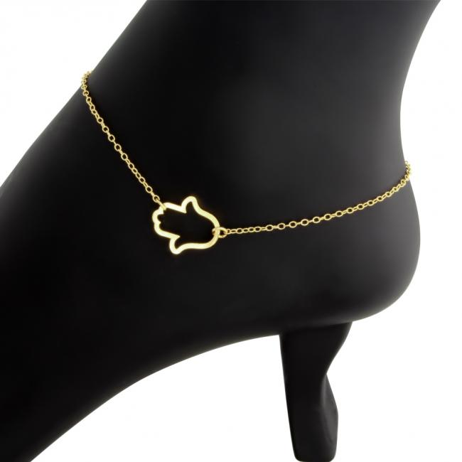 Gold plated anklet Hamsa Hand Outline