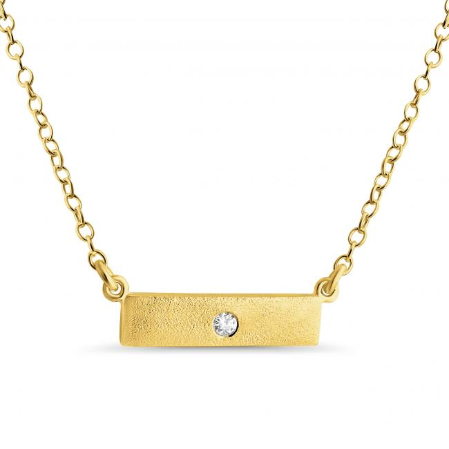 Gold plated necklace Solid Textured Bar w/ CZ Sideways