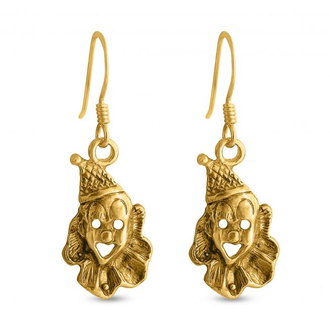 Gold plated earrings Clown Face