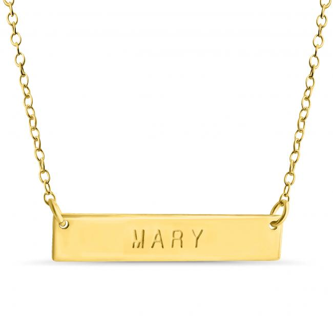 Gold plated necklace Name Bar Mary