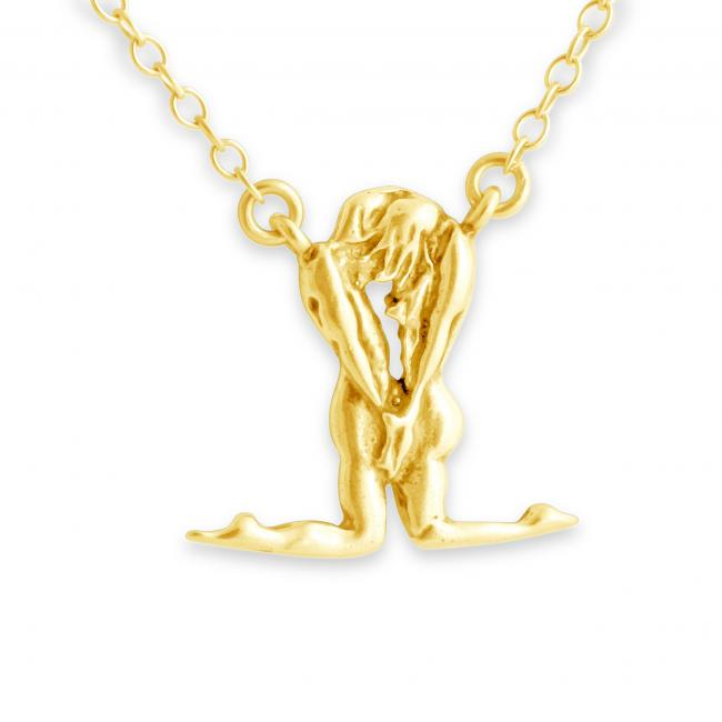Gold plated necklace Man & Woman Jump Ring Necklace