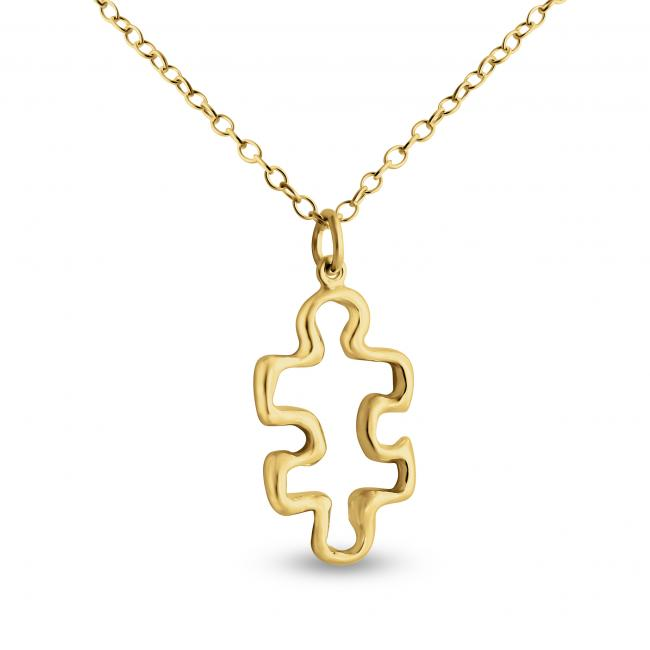 Gold plated necklace Outlined Puzzle Piece
