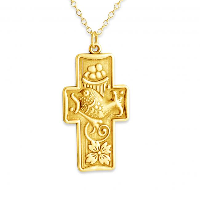 Gold plated necklace Fish + Bread Miracle Cross