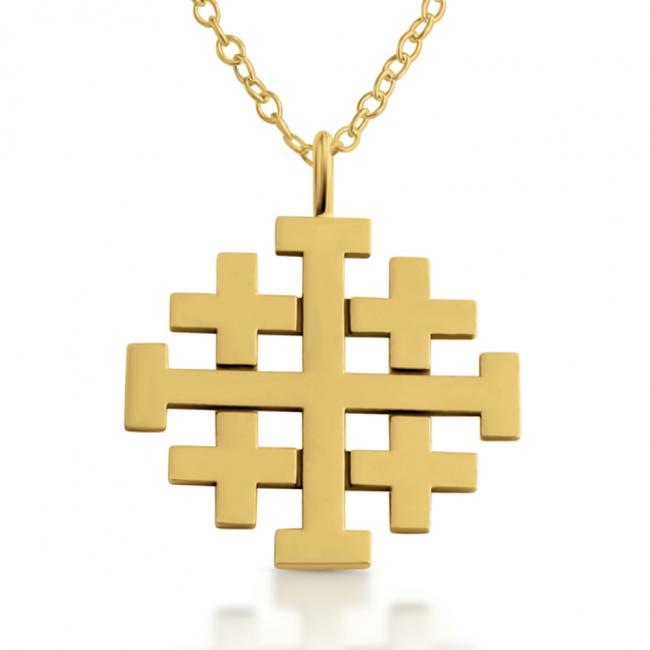Gold plated necklace Jerusalem Cross